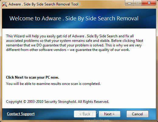 Adware . Side By Side Search Removal Tool
